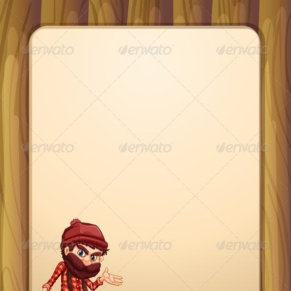 Empty Wooden Template with Woodsman