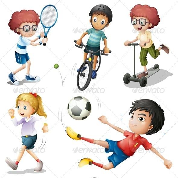 Set of Kids in Sports Activities