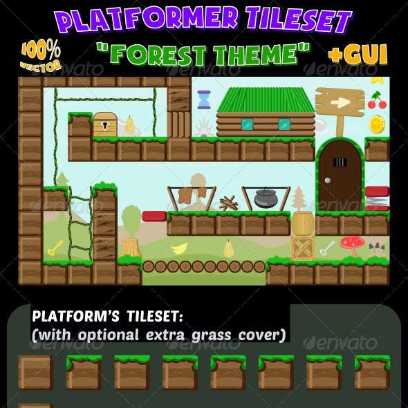 Platformer Game Tileset Forest Theme