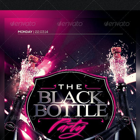 The Black Bottle Party Flyer Template PSD