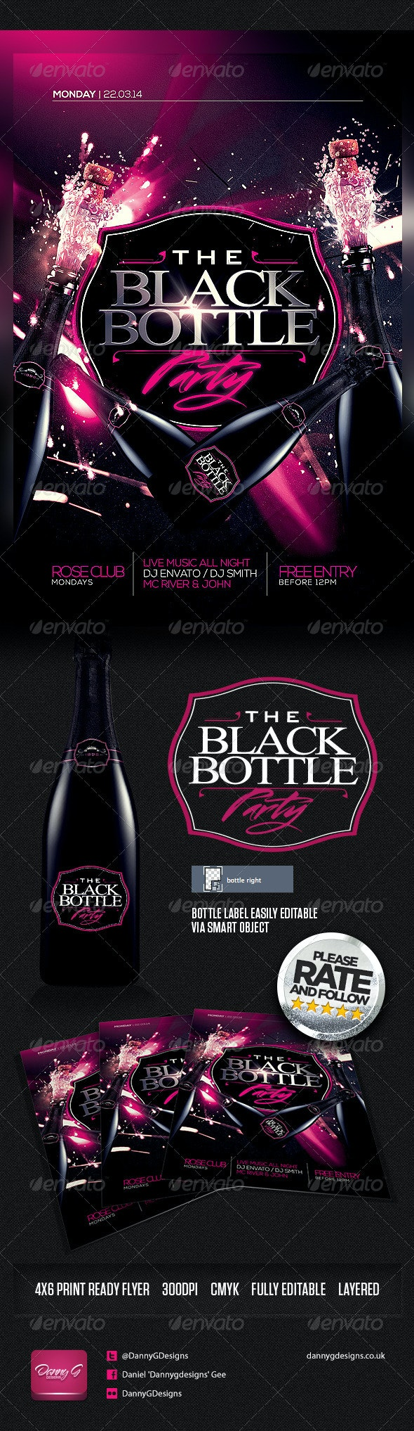 The Black Bottle Party Flyer Template PSD - Clubs & Parties Events
