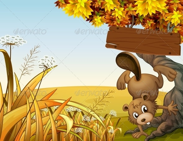 Beaver Playing Under Empty Sign - Animals Characters