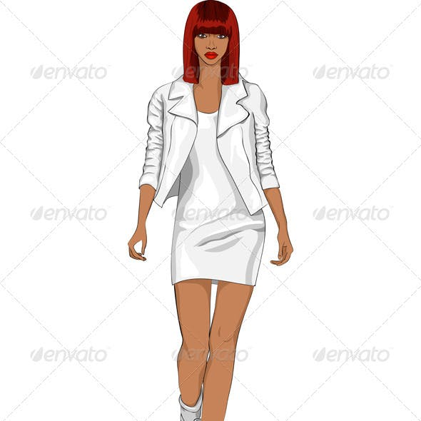 Vector Fashion African Girl In A White Suit