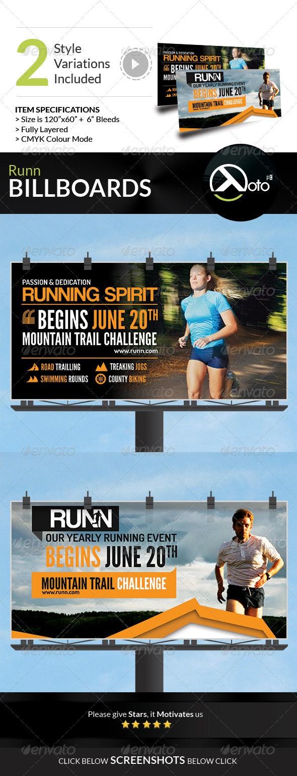 Runn Marathon Running Club Fitness Billboards - Signage Print Templates