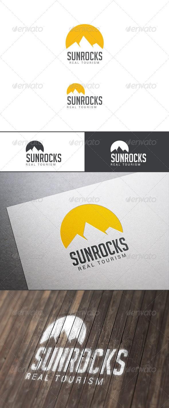 Travel Tourism Logo - Sun Over Rocks - Nature Logo Templates