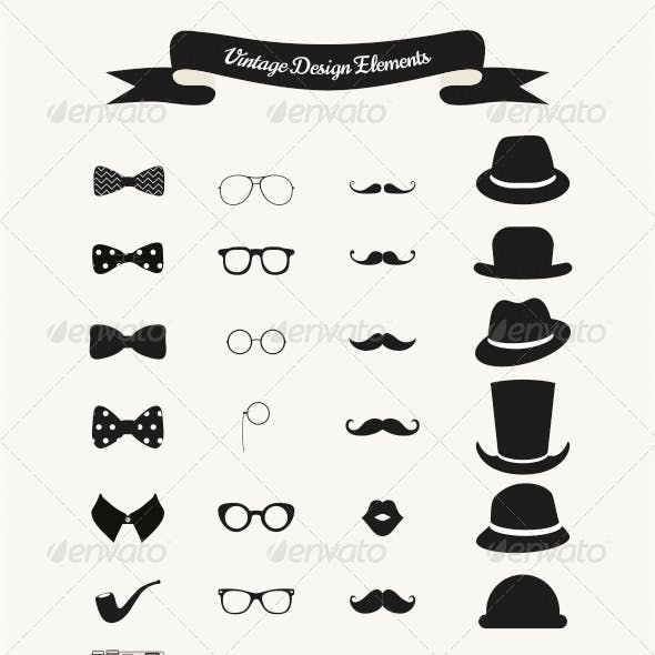 Set of Vintage Black and White Hipster Icons