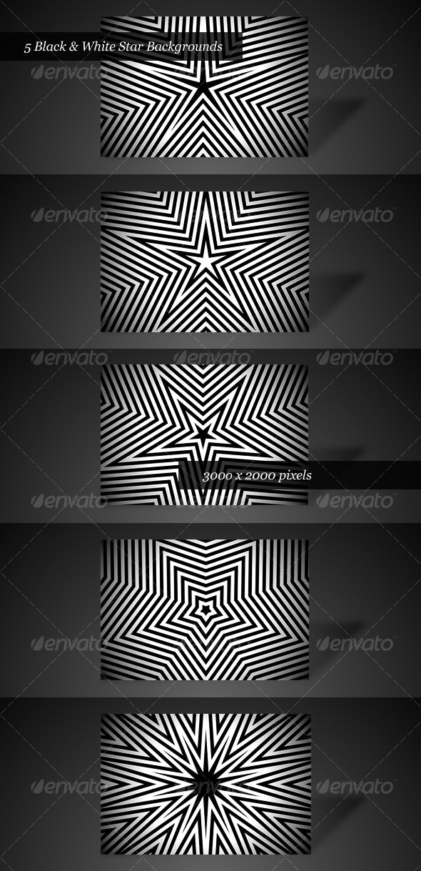 Black & White Star Backgrounds (Pack of 5) - Abstract Backgrounds
