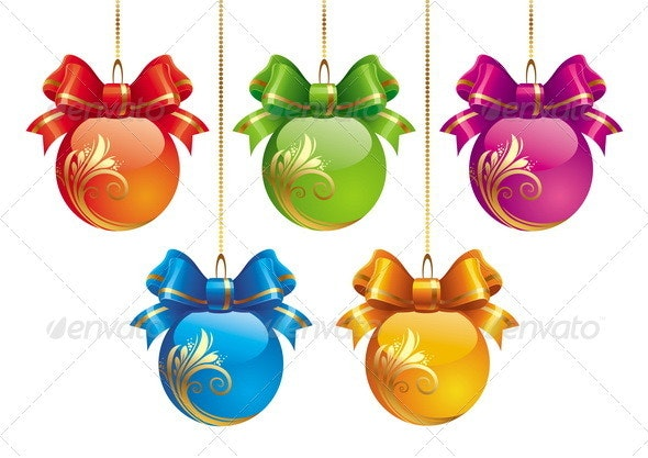 Multicolored Holidays Baubles with Bows - Seasons/Holidays Conceptual