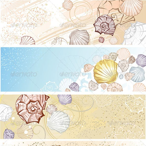 Four Banners with Seashells