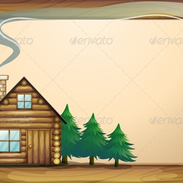 A House in Front of the Empty Wooden Template