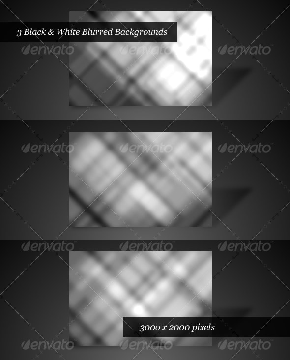 Black & White Blurred Backgrounds (Pack of 3) - Abstract Backgrounds