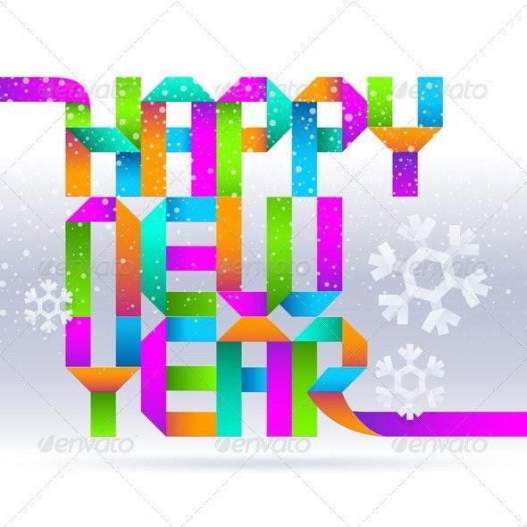 Colorful Holidays Paper Greeting - New Year Seasons/Holidays