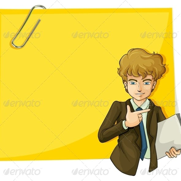Boy in Front of an Empty Paper with a Clip