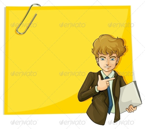 Boy in Front of an Empty Paper with a Clip - Borders Decorative