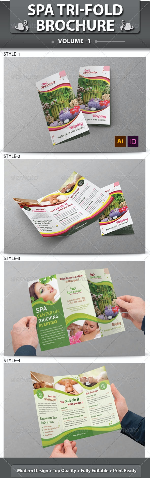 Spa & Beauty Saloon Tri-fold Brochure | Volume 14 - Corporate Brochures