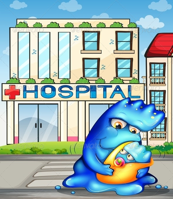 A Monster with her Child in Front of the Hospital  - Monsters Characters