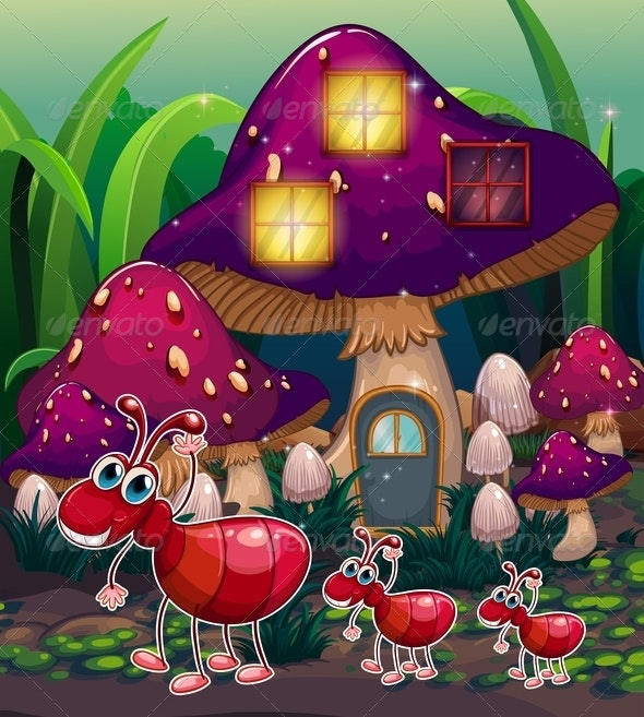 A Colony of Ants near the Mushroom House - Animals Characters