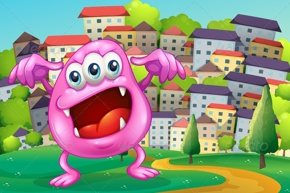 A Beanie Monster Shouting at the Hilltop - Monsters Characters