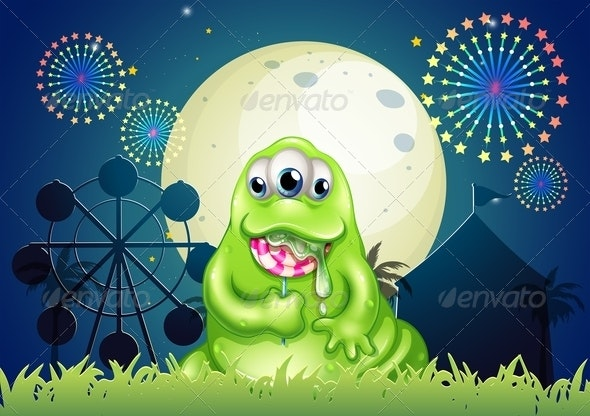 A Monster Eating a Lollipop at the Amusement Park - Monsters Characters