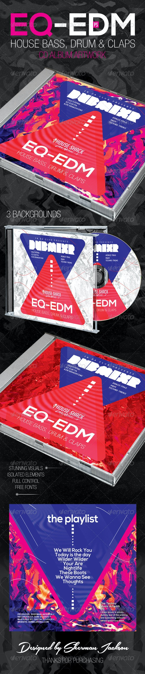 EQ EDM CD Artwork - CD & DVD Artwork Print Templates