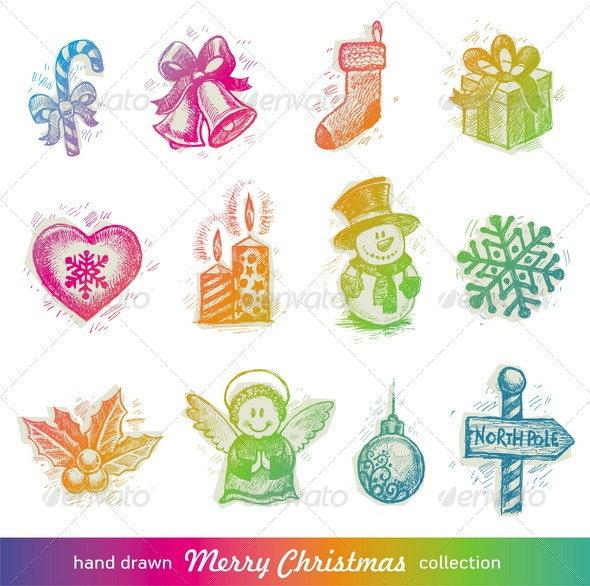 Vector Set of Hand Drawn Christmas Symbols - Christmas Seasons/Holidays