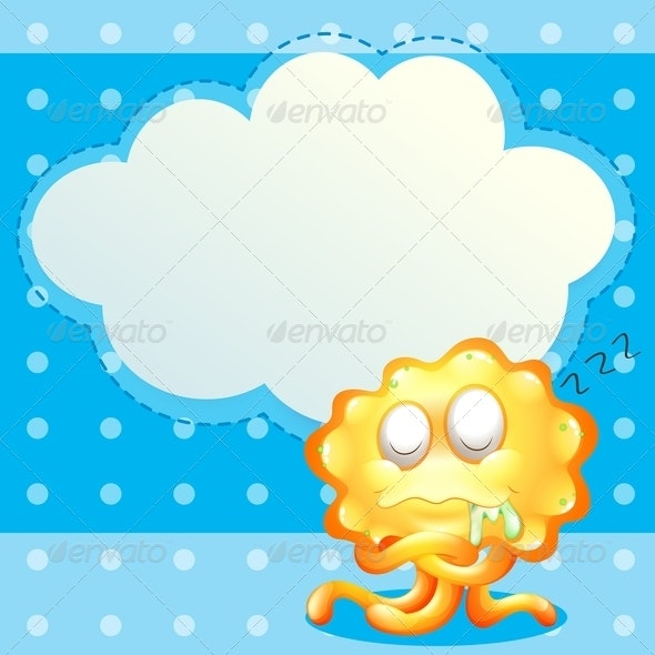 A Sleeping Orange Monster in Front of the Empty Card - Borders Decorative