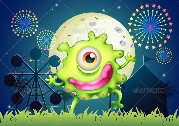 A One-Eyed Green Monster at the Amusement Park - Monsters Characters
