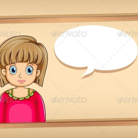 A Frame with a Woman with an Empty Bubble Callout