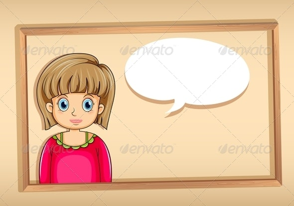 A Frame with a Woman with an Empty Bubble Callout - People Characters