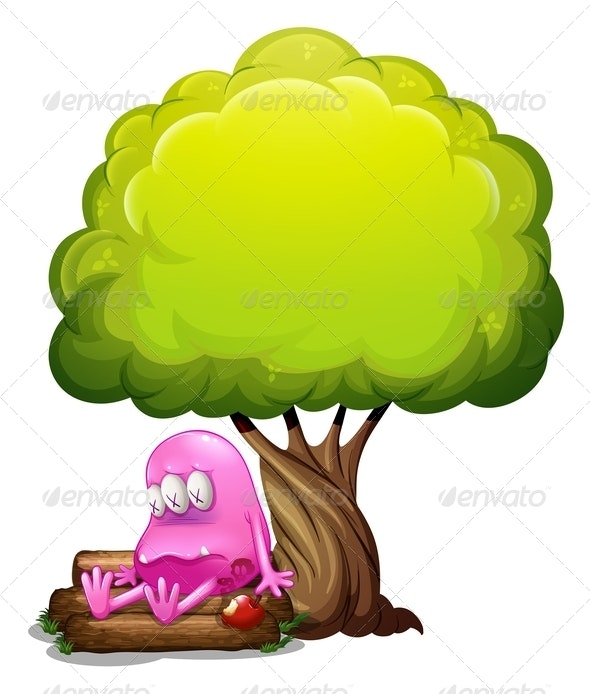 A Poisoned Monster Sitting on the Log under the Tree - Monsters Characters