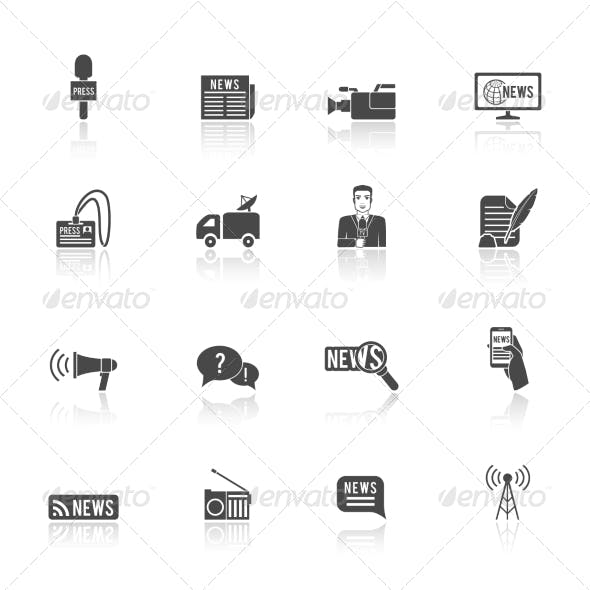 Journalist Reporter Icons Set