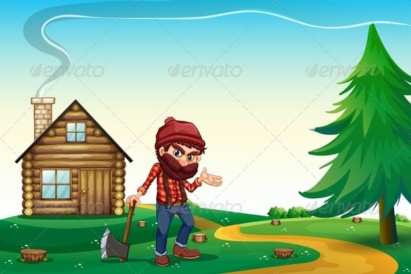 Hill with a Wooden House and a Lumberjack - People Characters