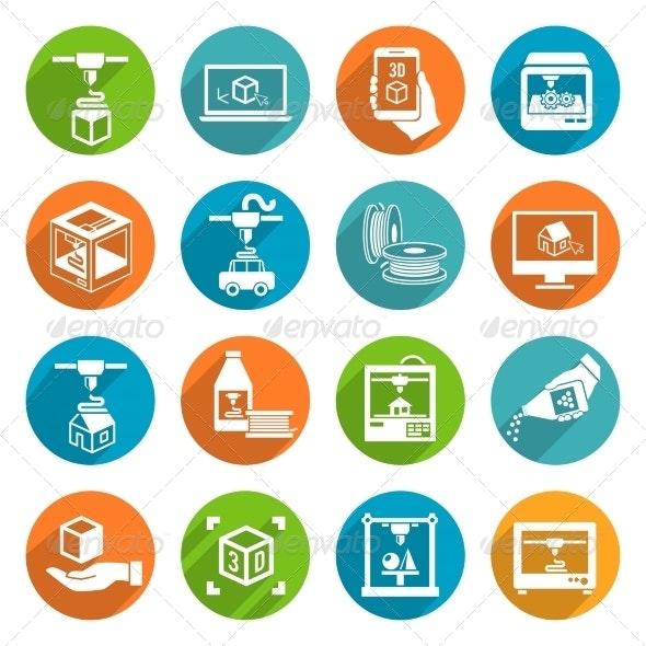 Printer 3D Icons Set - Technology Icons