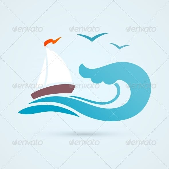 Sail Ship Wave Icon
