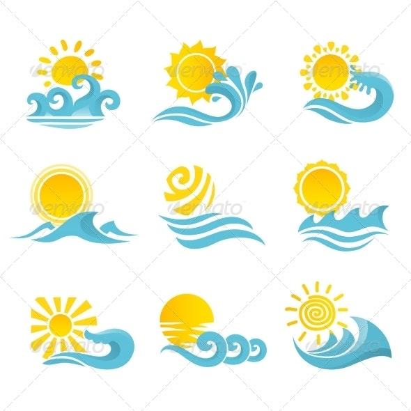 Waves Sun Icons Set - Web Elements Vectors