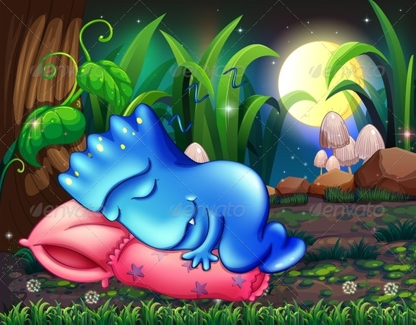 Monster Sleeping on a Pillow Under a Tree - Monsters Characters