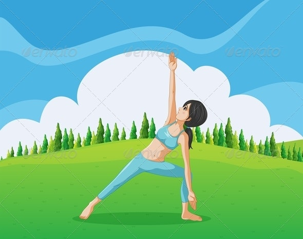 Slim Girl Doing Yoga at the Top of the Hill - People Characters