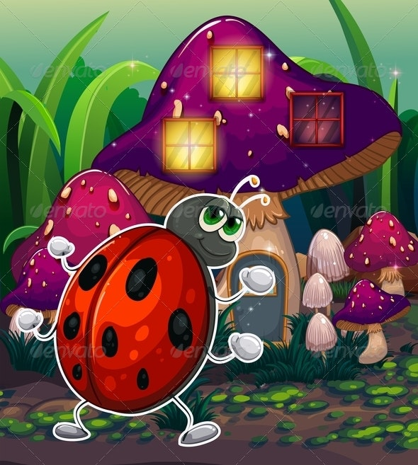 Bug in Front of a Lighted Mushroom House - Animals Characters
