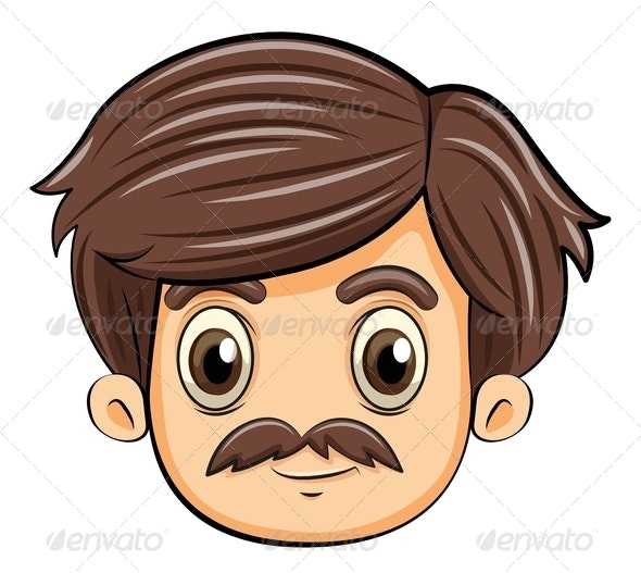 Head of an Adult with a Mustache - People Characters
