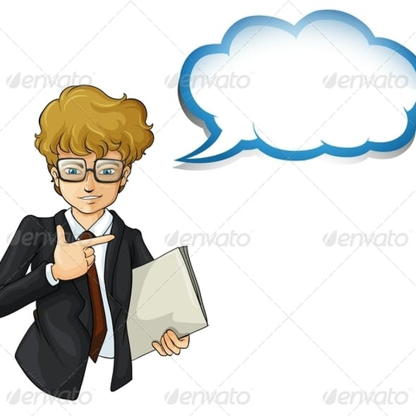 Businessman with an Empty Cloud Template