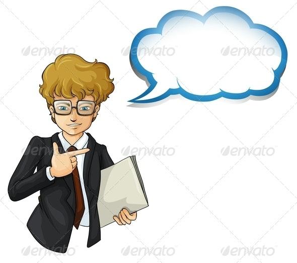 Businessman with an Empty Cloud Template - Decorative Vectors