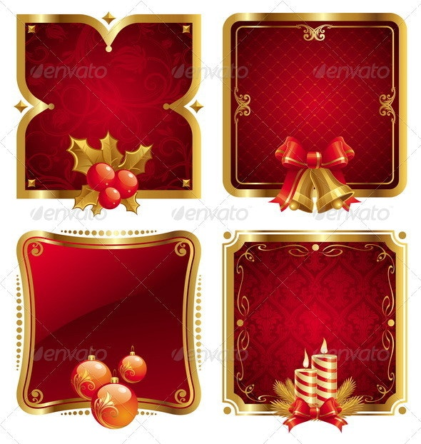 Ornate Framed Labels With Christmas Symbols - Christmas Seasons/Holidays