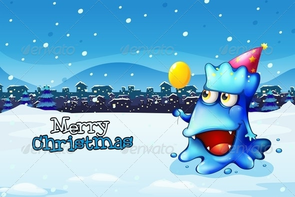 Christmas Card Template with a Blue Monster - Monsters Characters