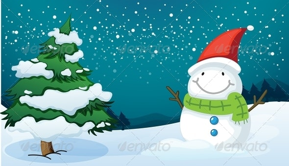 Smiling Snowman Near a Pine Tree - Landscapes Nature