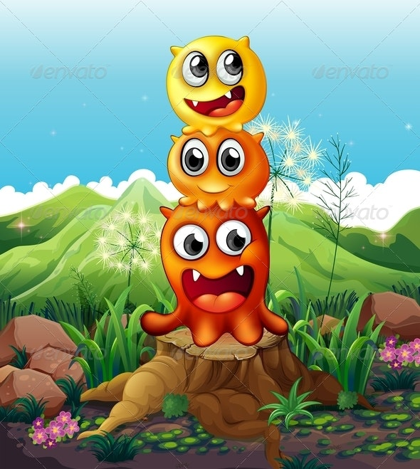 Three Playful Monsters on a Stump - Monsters Characters