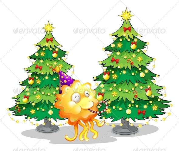 Two Christmas Trees and a Happy Monster - Monsters Characters