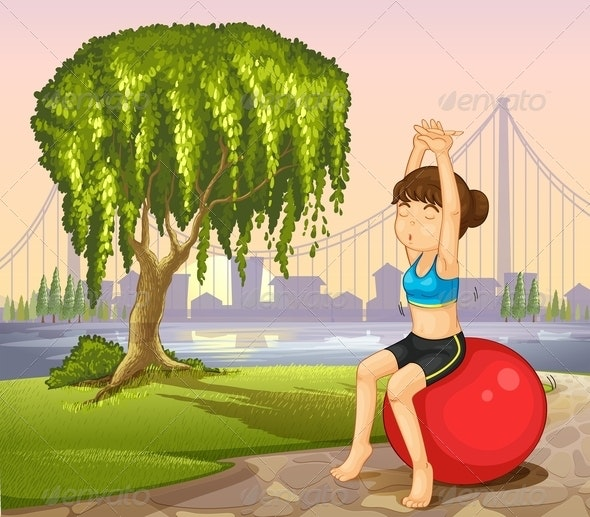 Girl Exercising with a Bouncing Ball - People Characters