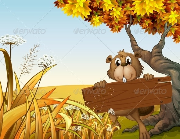Beaver at the Top of a Hill Holding a Wooden Sign - Animals Characters