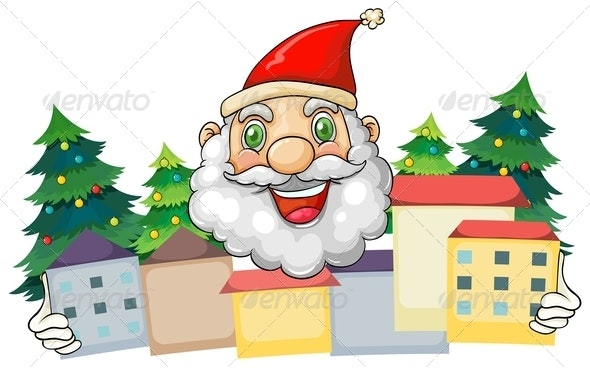 Smiling Santa Hugging a Village - People Characters