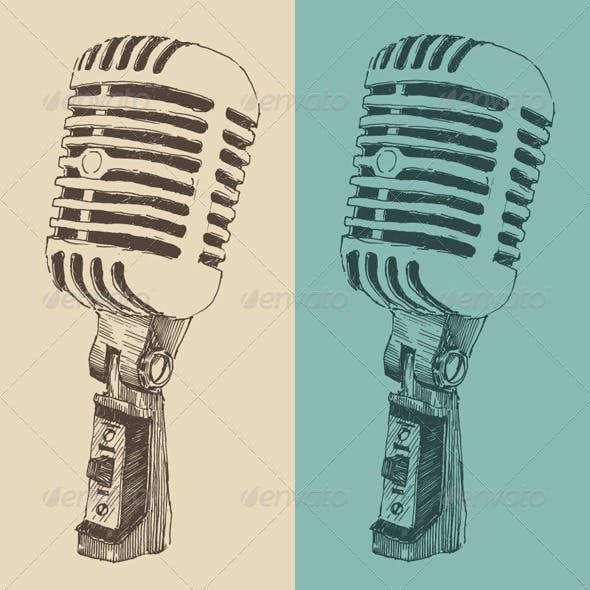 Studio Microphone Vintage Illustration